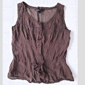 Express Button Down Silk Sleeveless Blouse Top